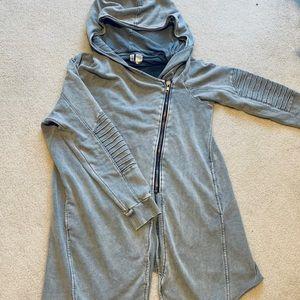 Long grey moto style hoodie